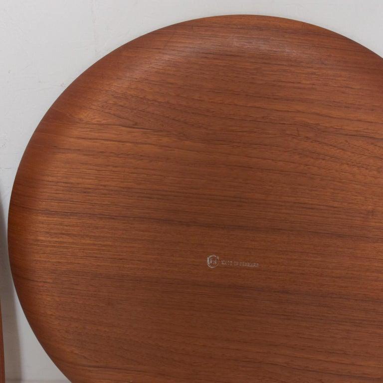 Danish Fritz Hansen Denmark Model 4508 Teak Folding Tray Side Table -Set of Two For Sale