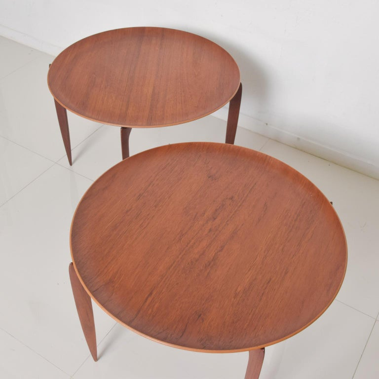 Mid-20th Century Fritz Hansen Denmark Model 4508 Teak Folding Tray Side Table -Set of Two For Sale