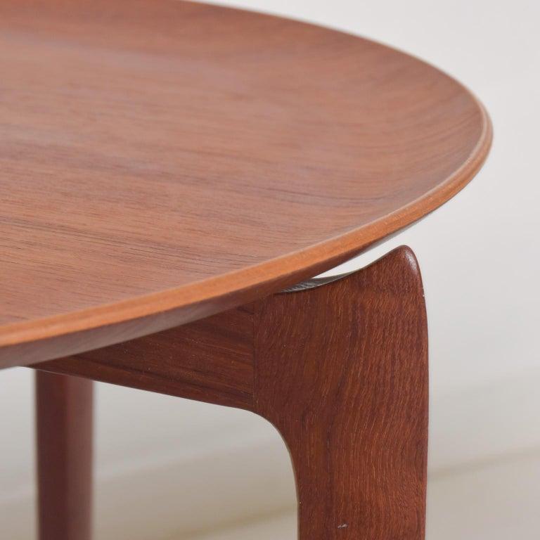 Wood Fritz Hansen Denmark Model 4508 Teak Folding Tray Side Table -Set of Two For Sale