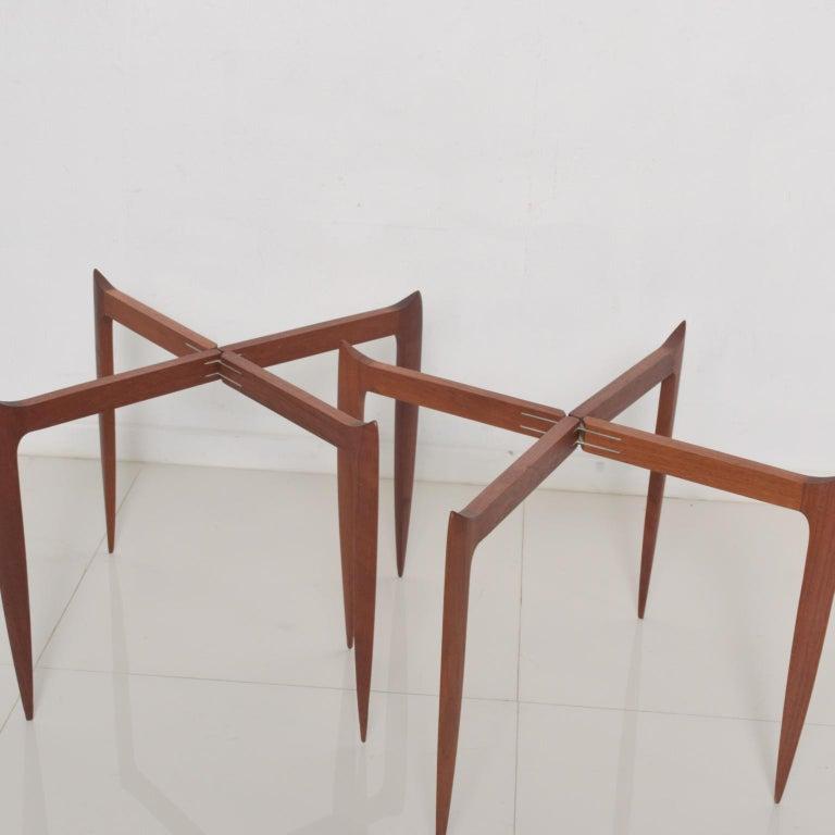 Fritz Hansen Denmark Model 4508 Teak Folding Tray Side Table -Set of Two For Sale 2