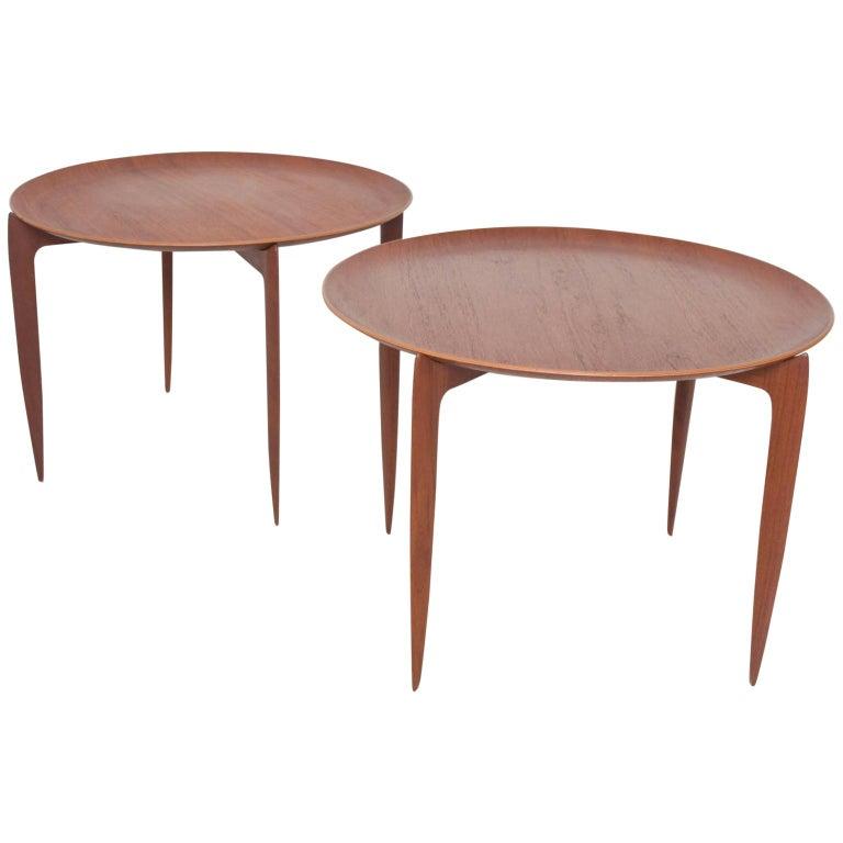 Fritz Hansen Denmark Model 4508 Teak Folding Tray Side Table -Set of Two For Sale
