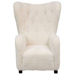 Fritz Hansen High Back Easy Chair Model 1672 in Sheepskin
