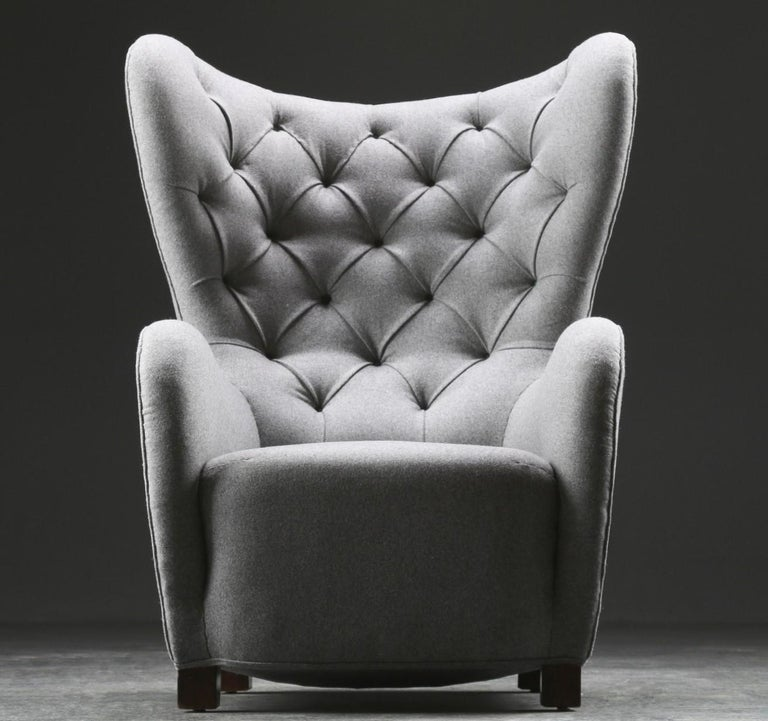 Danish Fritz Hansen, High Back / Lounge Chair, Fabric and Stained Beech, Denmark, 1940s For Sale