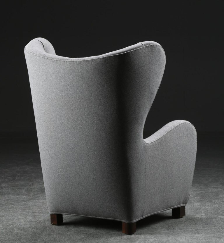 Fritz Hansen, High Back / Lounge Chair, Fabric and Stained Beech, Denmark, 1940s In Good Condition For Sale In West Palm Beach, FL