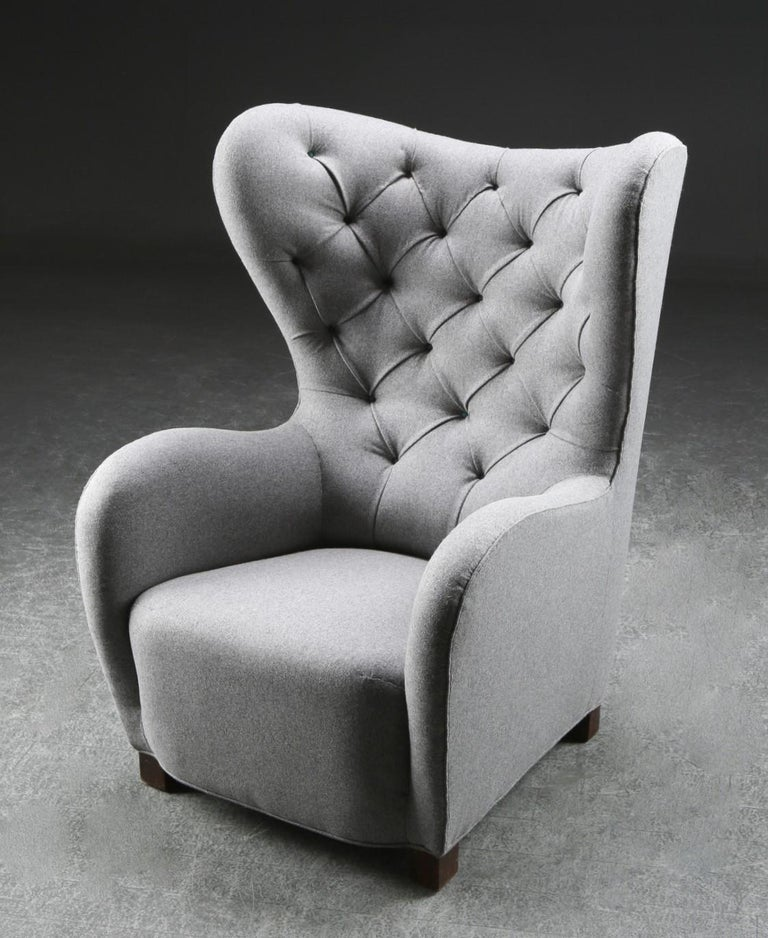 Wool Fritz Hansen, High Back / Lounge Chair, Fabric and Stained Beech, Denmark, 1940s For Sale