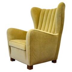 Fritz Hansen High Back Mohair Lounge Chair Model 1672, Danish Midcentury, 1940s