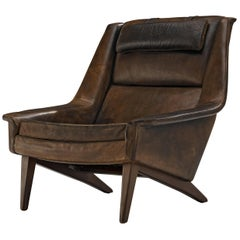 Fritz Hansen Lounge Chair in Original Brown Leather