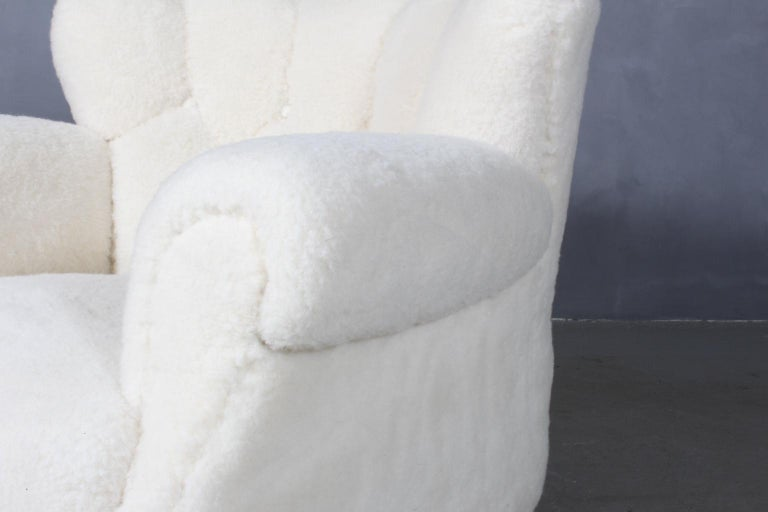 Fritz Hansen, Lounge Chair Lambwool, 1940s, Model 1518B In Good Condition In Esbjerg, DK