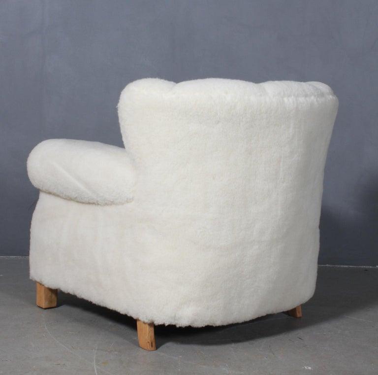 Sheepskin Fritz Hansen, Lounge Chair Lambwool, 1940s, Model 1518B