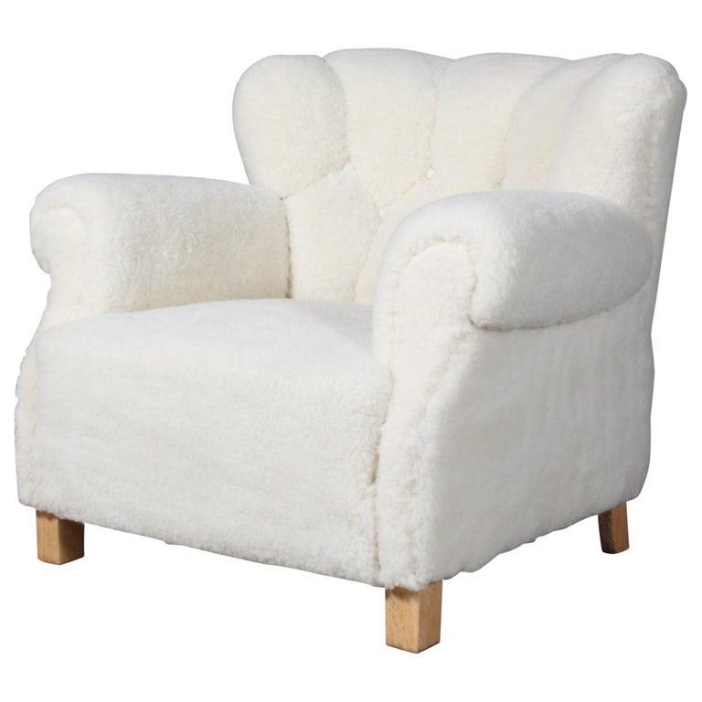 Fritz Hansen, Lounge Chair Lambwool, 1940s, Model 1518B