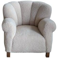 Fritz Hansen Model 1518 Large Size Club Chair in Lambswool, Denmark 1940s
