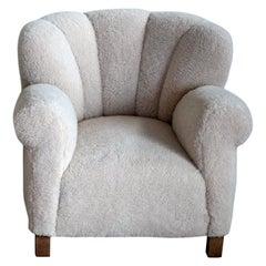 Fritz Hansen Model 1518 Large Size Club Chair in Lambswool, Denmark, 1940s