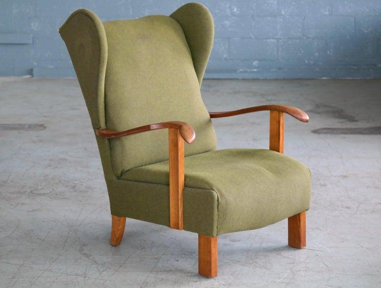 Scandinavian Modern Fritz Hansen Model 1582 Wingback Lounge Chair Danish Midcentury For Sale