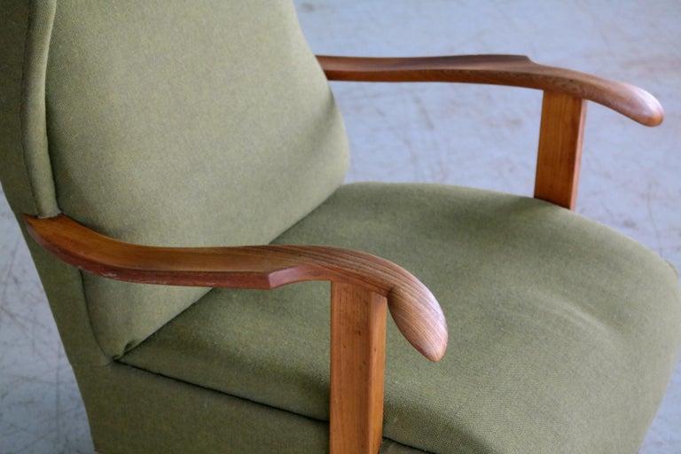 Fritz Hansen Model 1582 Wingback Lounge Chair Danish Midcentury In Good Condition For Sale In Bridgeport, CT