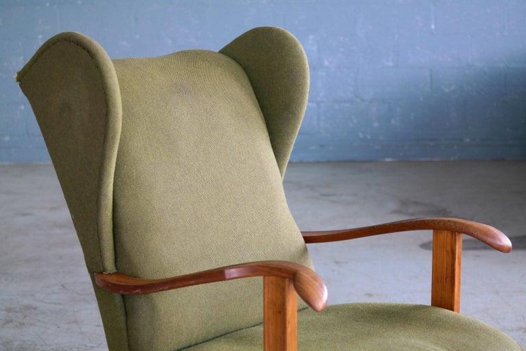 Mid-20th Century Fritz Hansen Model 1582 Wingback Lounge Chair Danish Midcentury For Sale