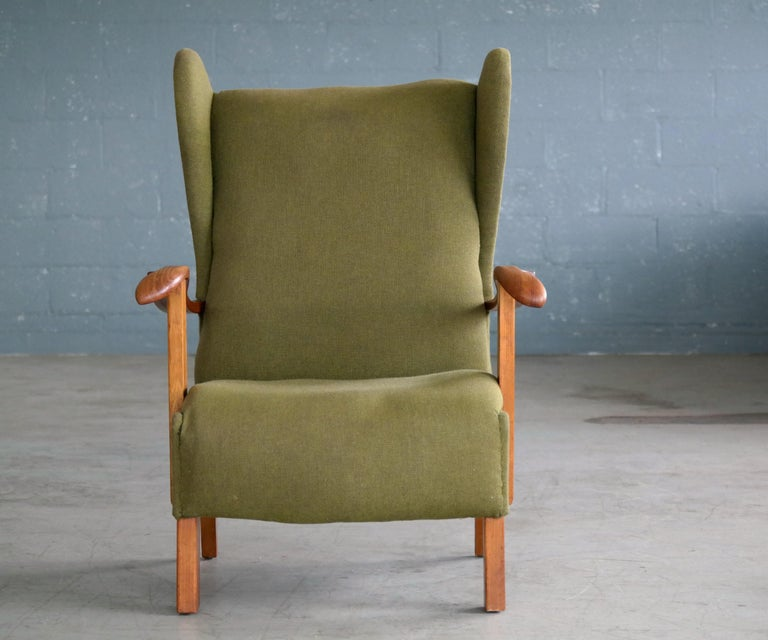 Wool Fritz Hansen Model 1582 Wingback Lounge Chair Danish Midcentury For Sale