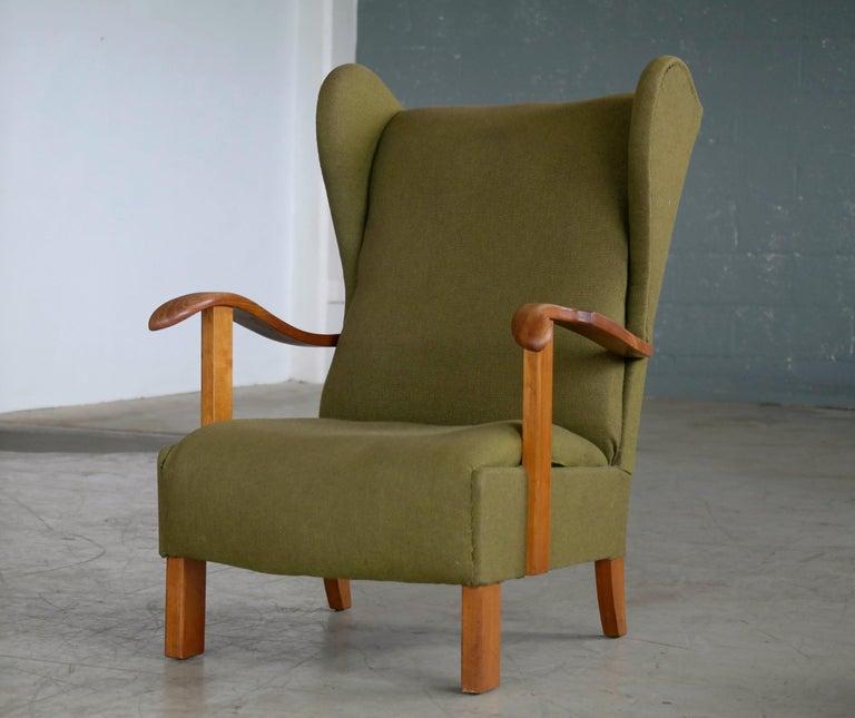 Fritz Hansen Model 1582 Wingback Lounge Chair Danish Midcentury For Sale 1