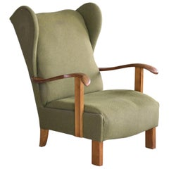 Fritz Hansen Model 1582 Wingback Lounge Chair Danish Midcentury