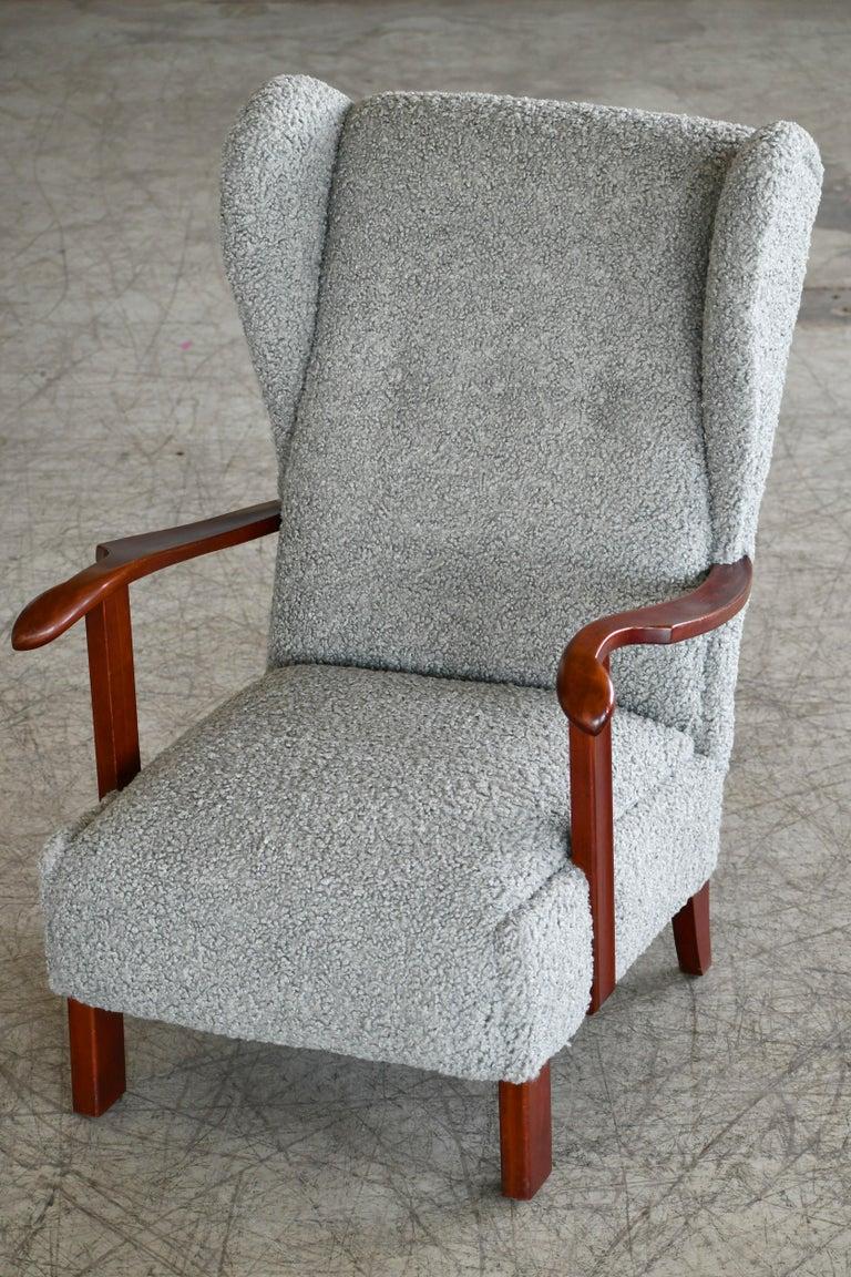 Fritz Hansen Model 1582 Wingback Lounge Chair in Grey Boucle Danish Midcentury 4