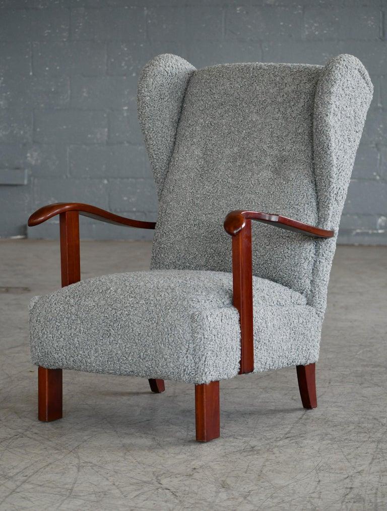 Fritz Hansen Model 1582 Wingback Lounge Chair in Grey Boucle Danish Midcentury 5