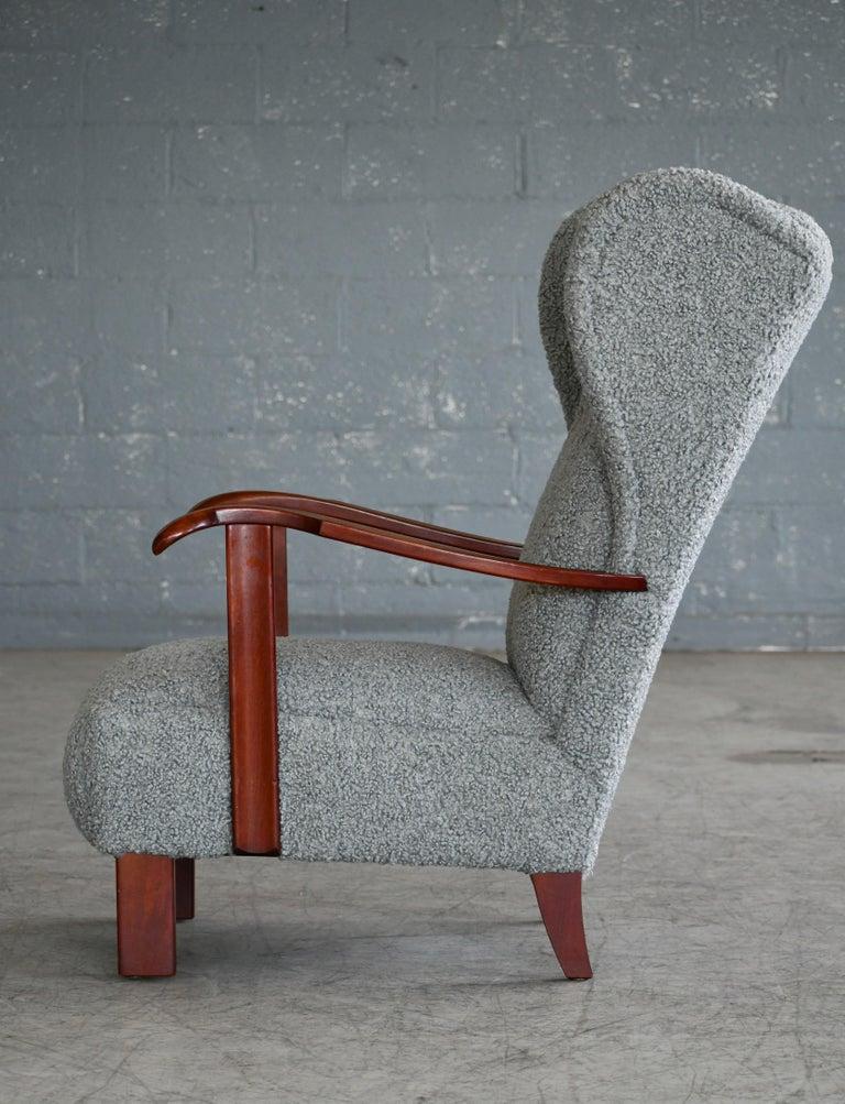 Fritz Hansen Model 1582 Wingback Lounge Chair in Grey Boucle Danish Midcentury 6