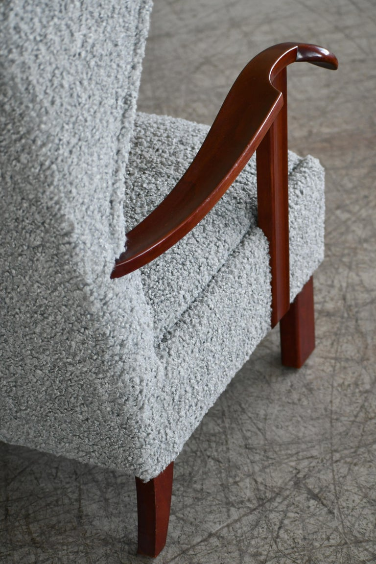 Fritz Hansen Model 1582 Wingback Lounge Chair in Grey Boucle Danish Midcentury 7