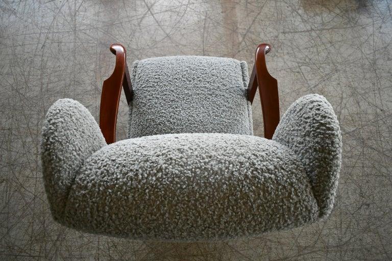 Fritz Hansen Model 1582 Wingback Lounge Chair in Grey Boucle Danish Midcentury 8