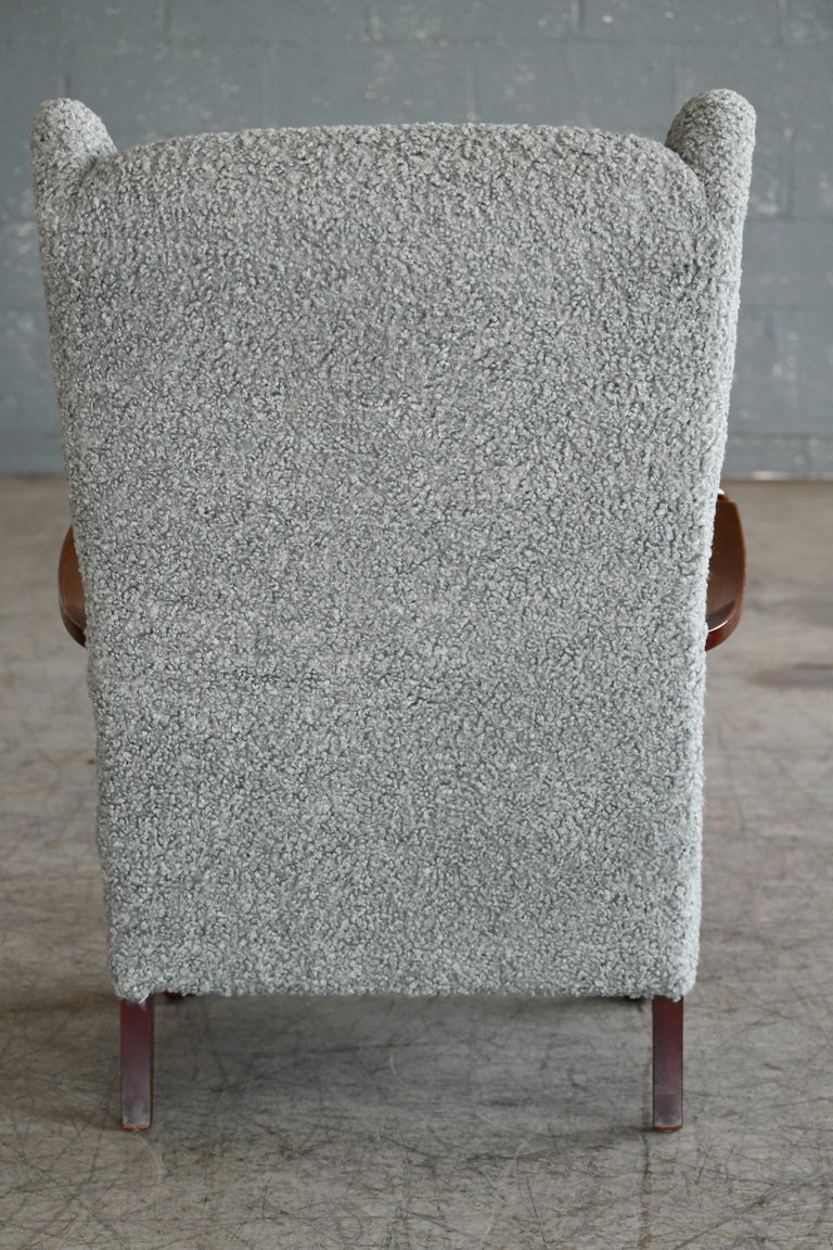 Fritz Hansen Model 1582 Wingback Lounge Chair in Grey Boucle Danish Midcentury 9