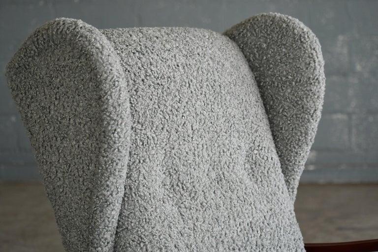 Mid-Century Modern Fritz Hansen Model 1582 Wingback Lounge Chair in Grey Boucle Danish Midcentury