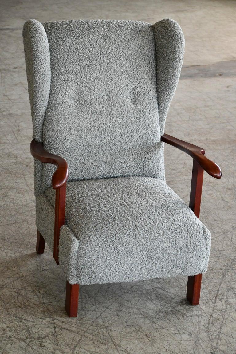 Beech Fritz Hansen Model 1582 Wingback Lounge Chair in Grey Boucle Danish Midcentury