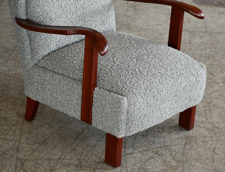 Fritz Hansen Model 1582 Wingback Lounge Chair in Grey Boucle Danish Midcentury 1