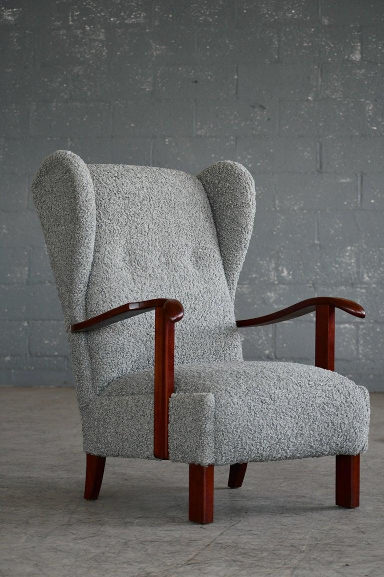 Fritz Hansen Model 1582 Wingback Lounge Chair in Grey Boucle Danish Midcentury 2