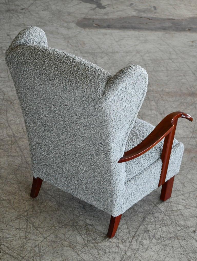 Fritz Hansen Model 1582 Wingback Lounge Chair in Grey Boucle Danish Midcentury 3