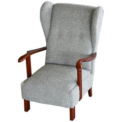 Fritz Hansen Model 1582 Wingback Lounge Chair in Grey Boucle Danish Midcentury