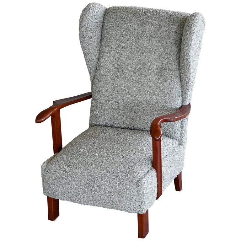 Fritz Hansen Model 1582 Wingback Lounge Chair in Grey Boucle Danish Midcentury