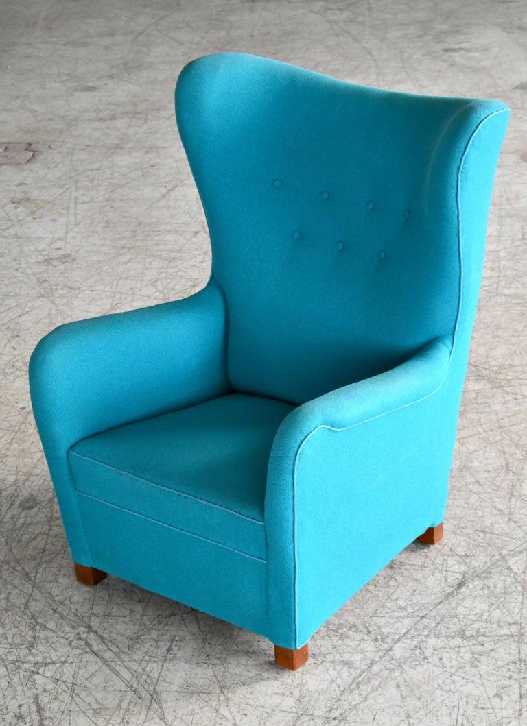 Fritz Hansen Model 1672 High Back Lounge Chair Danish Midcentury, 1940s 5