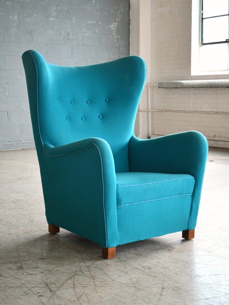 Fritz Hansen Model 1672 High Back Lounge Chair Danish Midcentury, 1940s 6