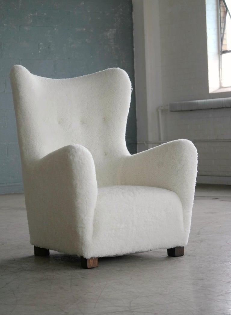 Fritz Hansen Model 1672 High Back Lounge Chair Danish Midcentury, 1940s 8