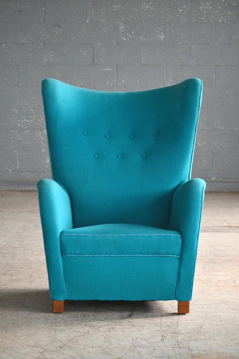 Mid-Century Modern Fritz Hansen Model 1672 High Back Lounge Chair Danish Midcentury, 1940s
