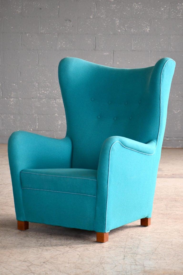 Fritz Hansen Model 1672 High Back Lounge Chair Danish Midcentury, 1940s In Good Condition In Bridgeport, CT