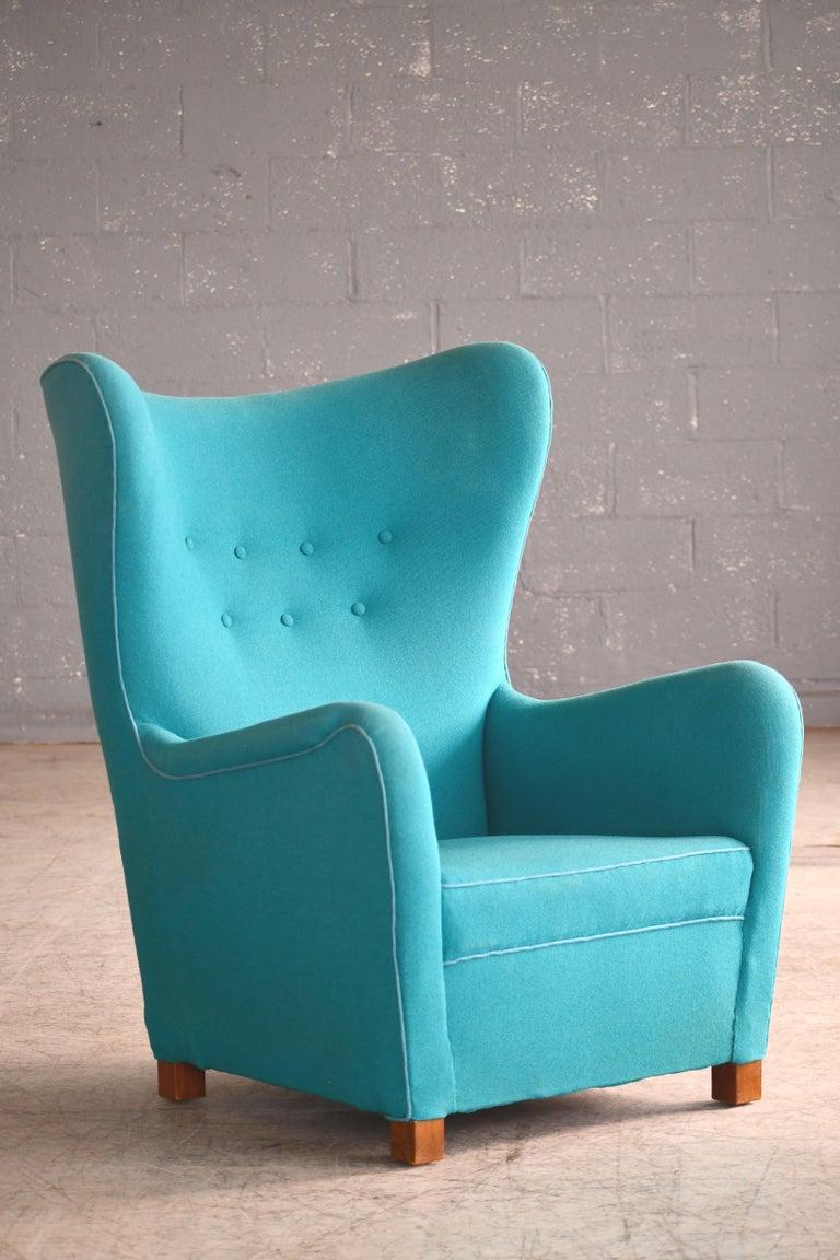 Mid-20th Century Fritz Hansen Model 1672 High Back Lounge Chair Danish Midcentury, 1940s