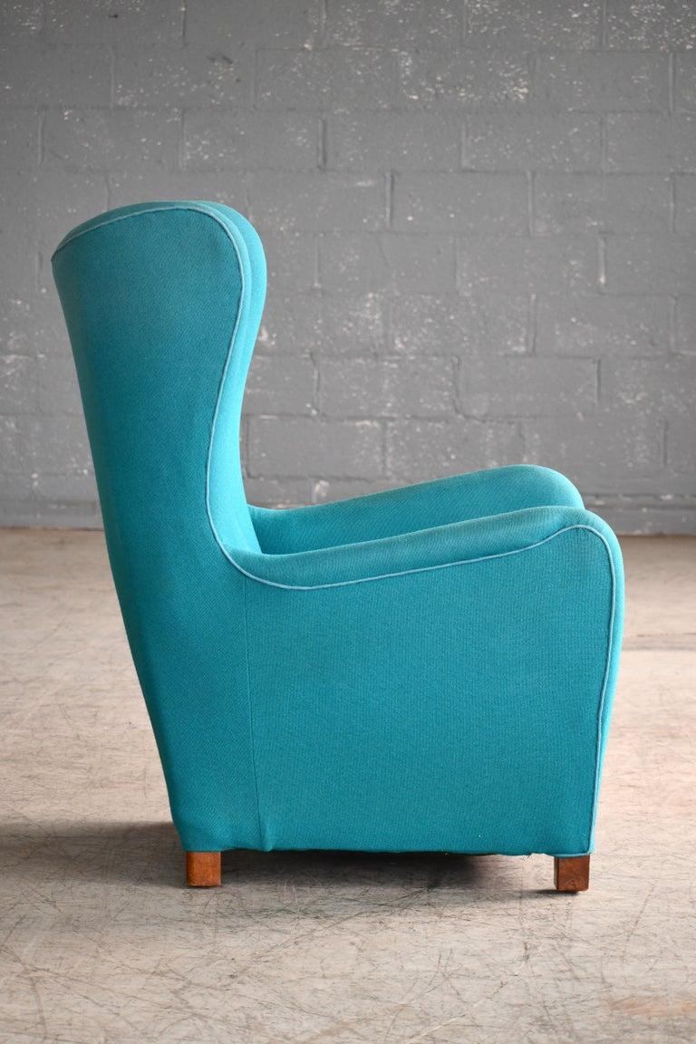 Beech Fritz Hansen Model 1672 High Back Lounge Chair Danish Midcentury, 1940s