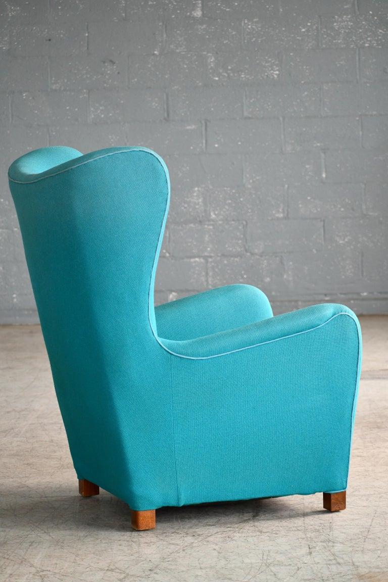 Fritz Hansen Model 1672 High Back Lounge Chair Danish Midcentury, 1940s 1