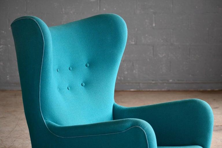 Fritz Hansen Model 1672 High Back Lounge Chair Danish Midcentury, 1940s 3