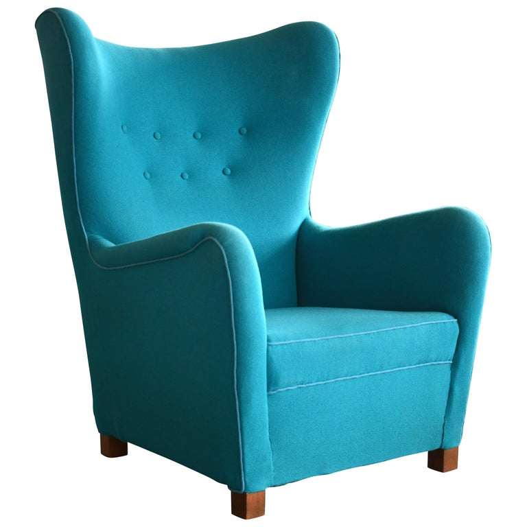 Fritz Hansen Model 1672 High Back Lounge Chair Danish Midcentury, 1940s