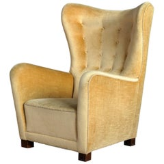 Fritz Hansen Model 1672 High Back Mohair Lounge Chair Danish Midcentury 1940s