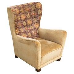 Fritz Hansen Model 1672 High Back Mohair Lounge Chair Danish Midcentury, 1940s