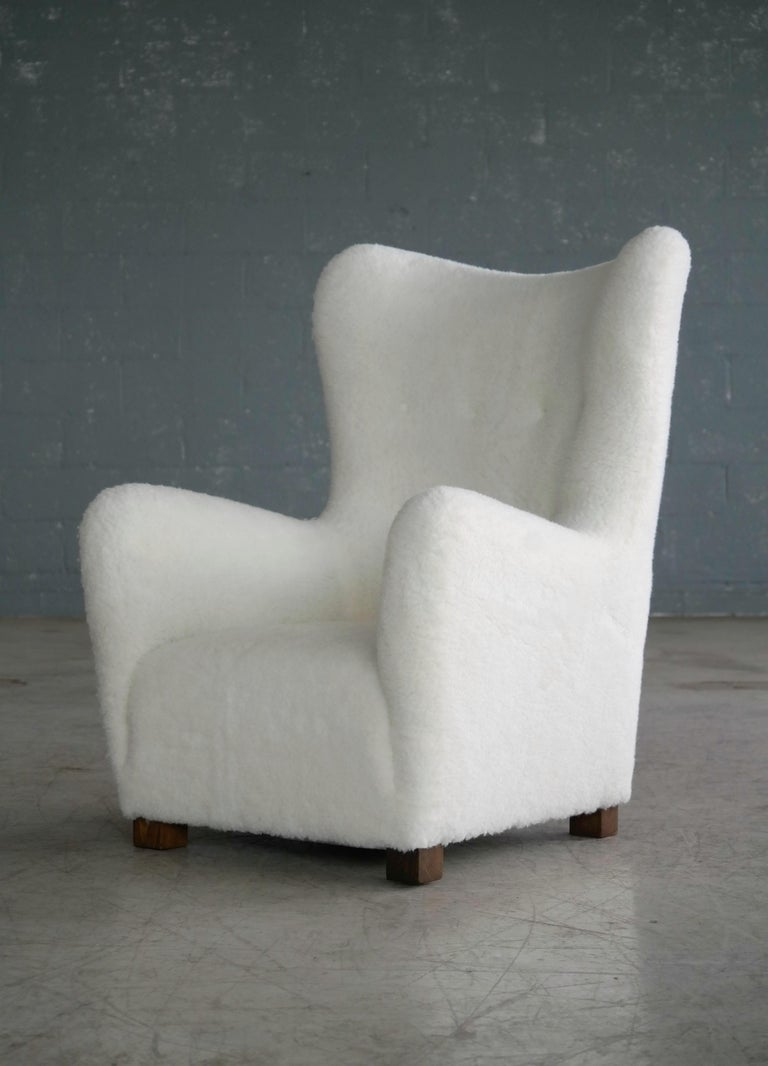 Mid-Century Modern Fritz Hansen Model 1672 Lambswool Covered High Back Lounge Chair Danish, 1940s For Sale