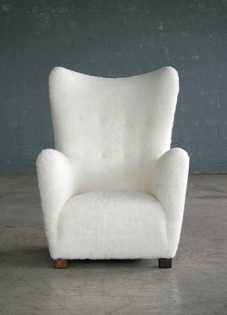 Mid-20th Century Fritz Hansen Model 1672 Lambswool Covered High Back Lounge Chair Danish, 1940s For Sale