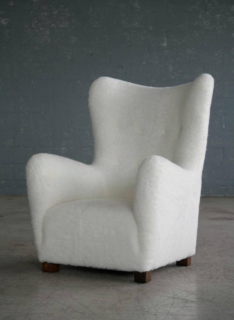 Wool Fritz Hansen Model 1672 Lambswool Covered High Back Lounge Chair Danish, 1940s For Sale